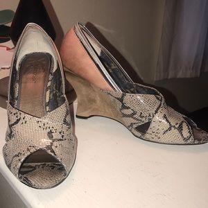 Snake skin wedged heels